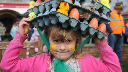 Five-year-old Polly Robbins with her egg box creation. Picture: KAREN BETHELL