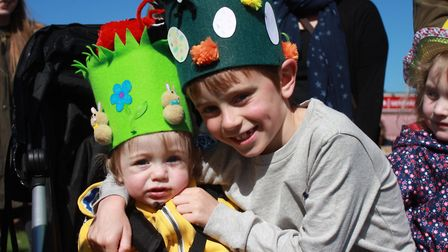 Seven-year-old Noah Heath and his one-year-old brother Sacha. Picture: KAREN BETHELL