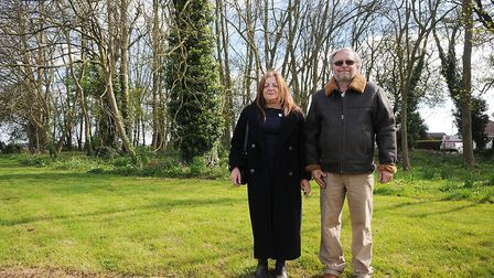 Ann Brownsell and Mark Oliver at the site of the memorial. Picture: Chris Bishop