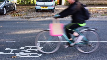 The finished cycle lanes in the road on The Avenues. - the original plan was for them to be dedicat