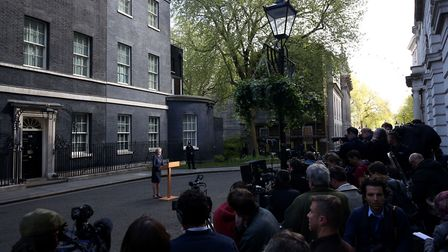 Prime Minister Theresa May makes a statement in Downing Street announcing a snap general election on
