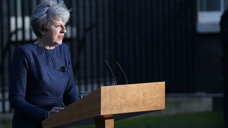 Prime Minister Theresa May makes a statement in Downing Street, announcing she plans to call a snap