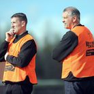 Fakenham Town's caretaker manager Neil Jarvis, right, with the now former boss, Wayne Anderson. Pict