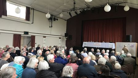 The packed crowd at St Edmund's Hall in Southwold for the meeting. Picture: Amy Smith