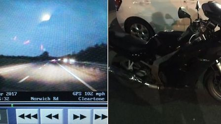 The biker who sped past an umarked police car. Picture: Norfolk Constabulary