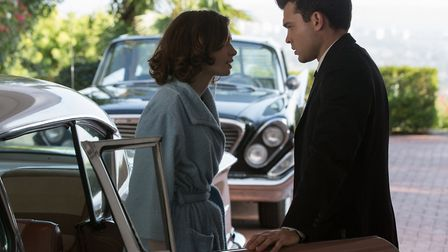 Lily Cole as Marla Mabrey and Alden Ehrenreich as chauffeur Frank Forbes in Warren Beatty's Rule's D