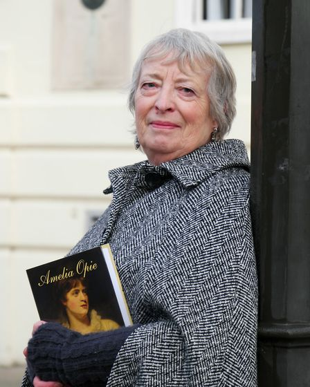 Ann Farrant, author of a new biography of Amelia Opie, close to where her house was on the junction