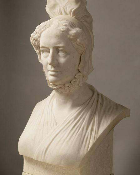 The bust of Amelia Opie in white marble by the French sculptor and medallist David d'Angers. The bu