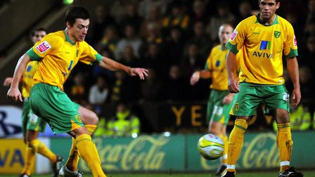 Russell Martin during the early stages of his Canaries career in December 2009, pictured alongside D