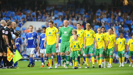 The Pride of Anglia walks out at Portman Road, alongside Ispwich... Picture: James Bass