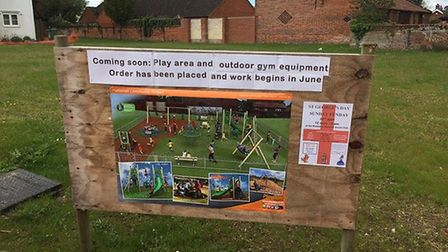 A coming soon sign currently in place on the site that will soon be developed into a new play area.