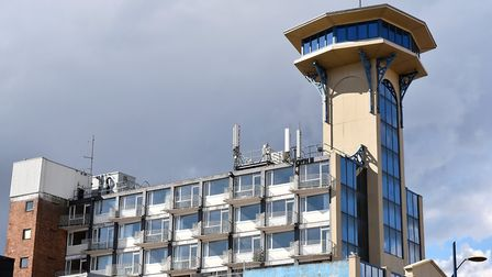 The former Atlantis Tower now renamed The Tower Complex on Marine Parade, Great Yarmouth. Old hotel