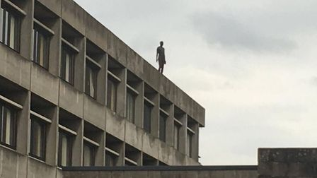 The Antony Gormley statue on the roof of the UEA library. Picture: Louisa Baldwin