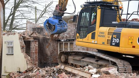 The outbuildings at Kessingland's Kings Head pub being demolished.PICTURE: Denise Bradley