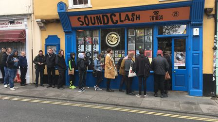 Fans queue outside Soundclash in Norwich for Record Store Day 2017. Picture: Dominic Gilbert
