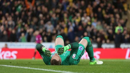 David Stockdale conceded two own goals in a bizarre first half at Carrow Road on Friday. Picture: Pa