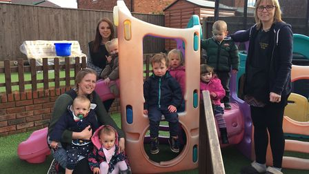 Childminder Becky Garratt, pictured far right, may have found a new home for the Little Sprouts nurs
