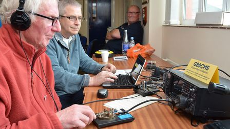 Rodney Hoffman G0CBO and Kim Medley G4WUG contact another radio amateur in Italy with Morse code fro