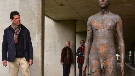 Official unveiling of Antony Gormley's 3X Another Time sculptures at the University of East Anglia.