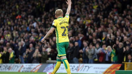 Alex Pritchard was a key figure in Norwich City's 2-0 Championship win over Brighton on Friday. Pict
