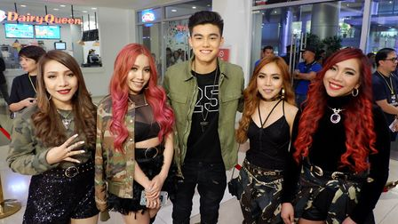 Bailey with 4th Impact from the X Factor at the MYX Philippines Music Awards. Picture: MATTHEW MAY