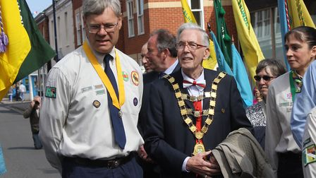 North East Norfolk Scouts' St George's Day parade at Sheringham (from left) district commissioner Pa