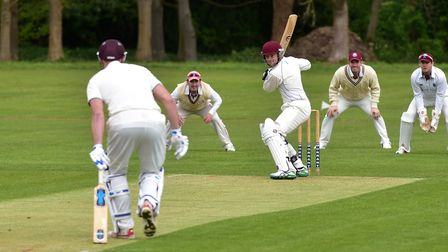 Action from the opening day of the EAPL season as Horsford bat against Swardeston. PHOTO: Nick Butc