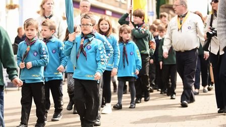 Scouting groups parade through King's Lynn in celebration of St George's Day. Picture: Ian Burt