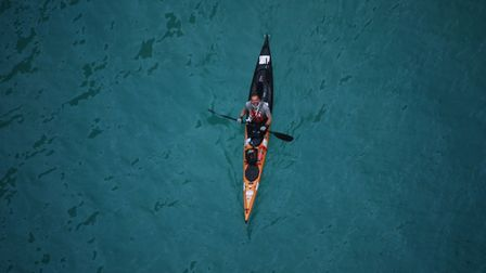 Huw Kingston kayaking through the Mediterranean Sea. Picture: Submitted