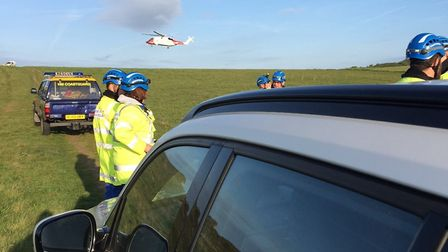 Emergency services are pictured at the scene at Weybourne. Picture: NARS