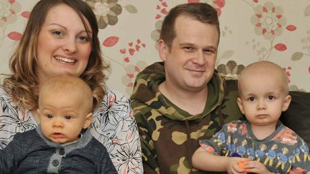 Jac at home with mum Kayleigh, dad Jay and younger brother Leo, after finishing his treatment. Pictu