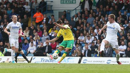Nelson Oliveira of Norwich scores his sides 3rd goal during the Sky Bet Championship match at Elland