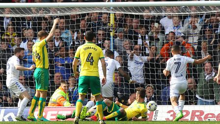 Kyle Bartley of Leeds United bundles the ball over the line to score his side's 2nd goal during the