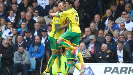 Nelson Oliveira of Norwich celebrates scoring his sides 2nd goal during the Sky Bet Championship mat