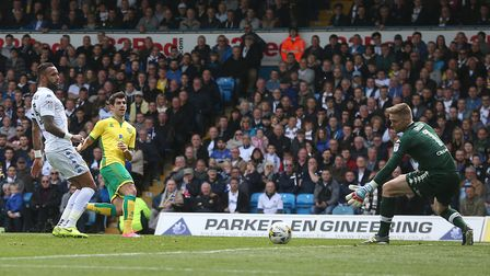 Nelson Oliveira of Norwich goes close during the Sky Bet Championship match at Elland Road, Leeds.