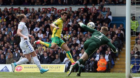 Nelson Oliveira of Norwich as he scores his sides 2nd goal during the Sky Bet Championship match at
