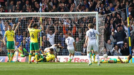 Kyle Bartley bundled the ball over the Norwich City goal line for Leeds' second goal. Picture: Paul
