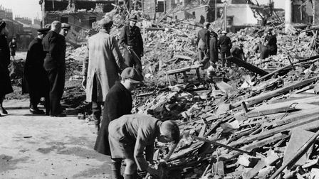 Norwich Blitz. Pictured: Damage near The Black Eagle in Rupert Street by Swain April 1942. Photo: Ar