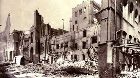 The wrecked Caley factory in Norwich after the 1942 'Baedeker' raid. Photo: Archant Library .