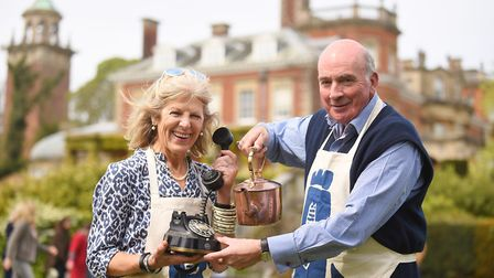 Lord Dannatt and Holly Rawkins from the Norfolk Churches Trust at the Stately Car Boot sale at Senno