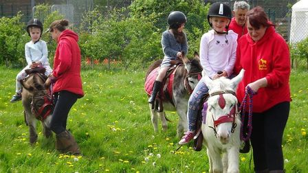Children enjoy donkey rides at the spring fair in Mulbarton. Picture: Courtesy of Puddleducks