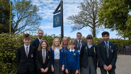 Back row, from left to right, Dr Roger Harris, headteacher at Long Stratton High School, Bridget Han