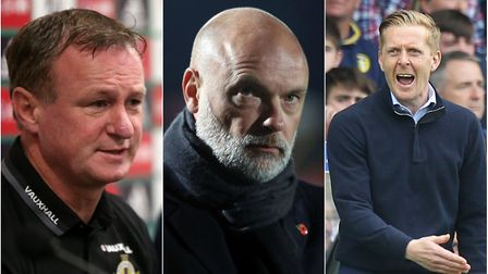From left, Northern Ireland manager Michael O'Neill, Fleetwood boss Uwe Rosler and Leeds United mana