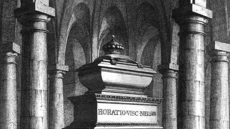 An engraving of Nelson's tomb in the crypt of St Paul's Cathedral. Picture: LIBRARY