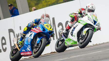 Danny Buchan leads Richard Cooper at Oulton Park. Picture: Barry Clay
