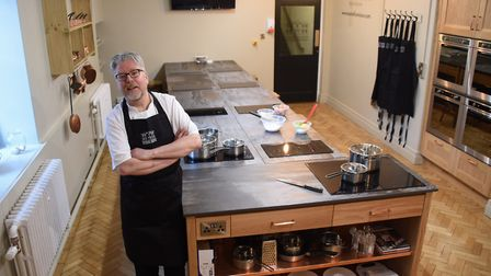 Chef Richard Hughes at his newly opened Cookery School at the Assembly House. Picture: DENISE BRADLE