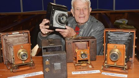 Verrall Grimes holds an aerial camera once owned by Wing Commander Ken Wallis. Picture: Peter Bird.