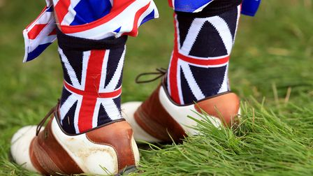 Union Flag socks spotted at the Ryder Cup tornament at Gleneagles in 2014. Picture: MIKE EGERTON/PA
