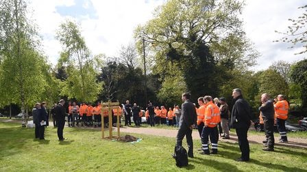 Worker's gathered to remember those lost or injured in the work place at Eaton Park. Picture : ANTON