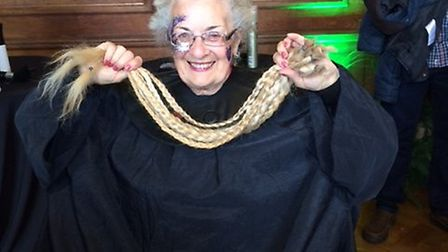 Sue Manning after having 77cm of her hair cut off at the Little Princess Trust's Rapunzel Event in L
